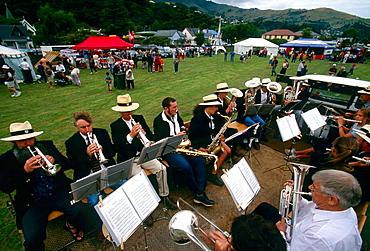 Akaroa Silver Band entertains at Akaroa French Festival, Banks Peninsula, New Zealand