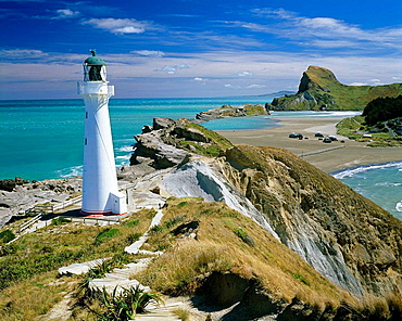 Lighthouse and view towards 162m Castle Point Castlepoint Wairarapa New Zealand