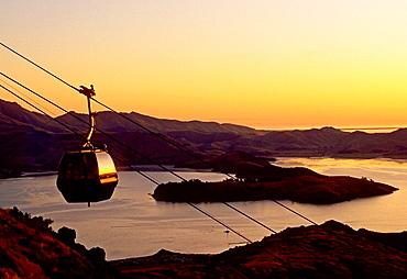 Mount Cavendish Gondola and Lyttelton Harbour at sunset Christchurch New Zealand
