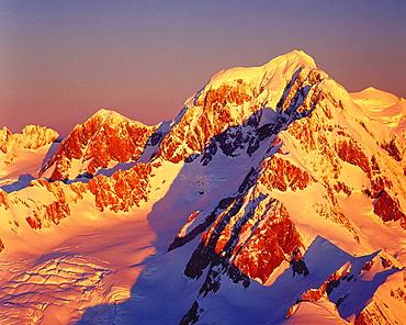 Evening light on Mount Tasman 3497m New Zealand