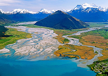Glenorchy with Dart River mouth left and Mt Earnslaw 2819 m right aerial view from over Lake Wakatipu New Zealand