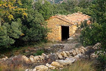 House, Kermes oak forest, Maestrazgo, Castellon province, Comunidad Valenciana, Spain