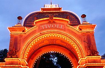Tivoli Gardens illuminated at dusk, Copenhagen, Denmark