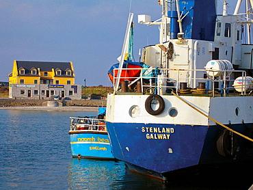 Scene of Kilronan harbour, Inishmore, biggest of Aran Islands, Galway Co, Ireland