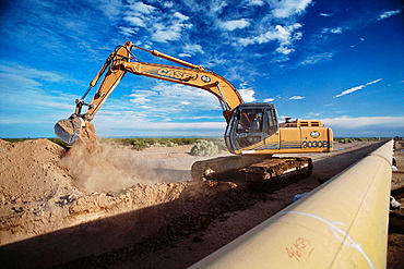 Gas pipeline under construction in the Patagonian region, Argentina
