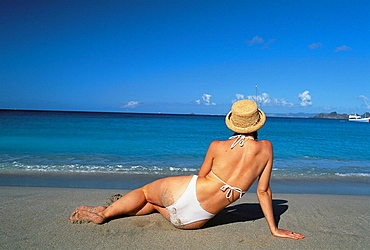 Woman at the beach, Colombier Bay, St, Barts, Caribbean