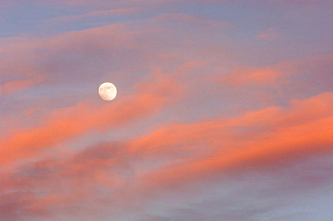 Full moon and evening clouds