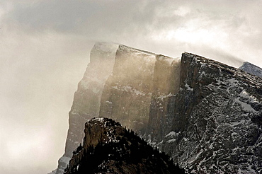 Crags of Mt Rundle with windblown snow, Banff, Alberta
