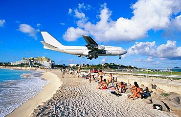 Airliner landing at airport at Maho Bay, Sint Maarten