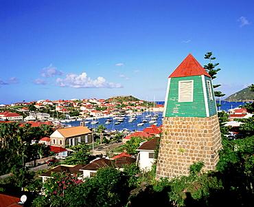 Bell tower of old Swedish church, Gustavia, St, Barts, Caribbean