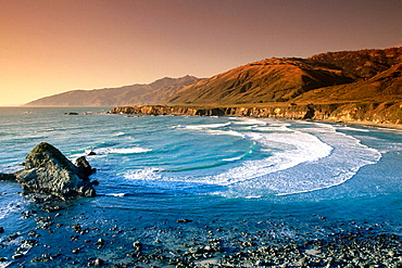 Sand Dollar Beach and the Santa Lucia Mountains at Pacific Valley, Big Sur, California