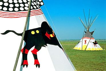 Indian tepees, Head smashed in buffalo jump, Alberta, Canada