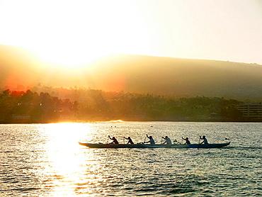 Rowing at Kailua Bay, Kailua-Kona, Hawaii, USA
