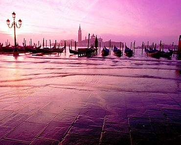 Gondolas and San Giorgio Maggiore island in background, Venice, Italy