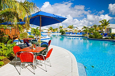 Swimming pool and restaurant at the Port of Grand Turk in the Turks and Caicos Islands, British Overseas Territory, 2008