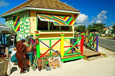 Colorful kiosks for selling souvenirs to tourists in Cockburn Town, Grand Turk, Turks and Caicos Islands, British Overseas Territories, 2008