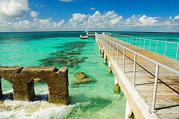 The village pier in Cockburn Town, Grand Turk, Turks and Caicos Islands, British Overseas Territories, 2008