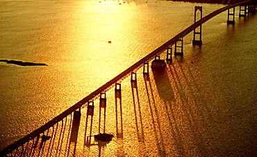 Bridge over Narragansett Bay, from Newport to Jamestown, at sunset, Rhode Island, USA