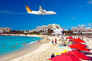 An airplane landing at Maho Beach, Sint Maarten, Netherland Antilles, 2008