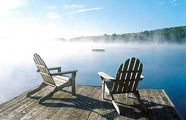 Adirondack chairs in a dock, Starlight, Poconos, Pennsylvania