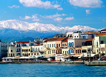 Chania, Levka Ori (White Mountains) in background, Crete, Greece