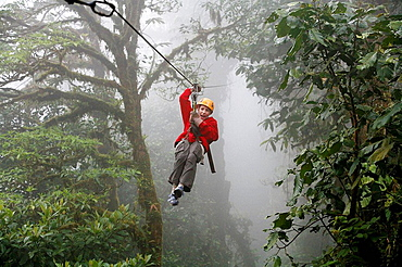 Canopy cable ride at Monteverde cloud forest, Costa Rica