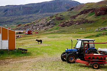 Farm at Eriks the Red first settelment Brattahlid, known today as Qassiarsuk, South Greenland