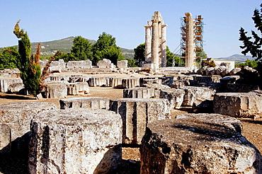 Ruins of Zeus temple, 400 BC, archaeological site of Nemea, Korinthia, Peloponnese, Greece