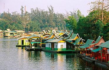 Floating restaurants, Kanchanaburi, Thailand