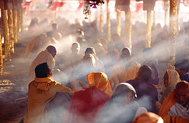 Fire worship at Kumbh Mela Festival, the largest religious event in the world, Allahabad, India