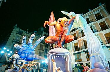 'Falla' festive bonfire, Valencia, Spain