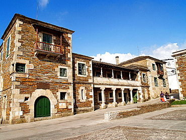 Main Square, Portomarin, Lugo province, Galicia, Spain