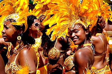 Women wearing Carnival costume, Trinidad Carnival, Queens Park Savannah, Port of Spain, Island of Trinidad, Republic of Trinidad and Tobago