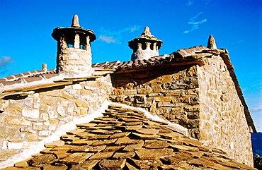 Typical protection against witches, Chimney, Puertolas, Pyrenees mountains, Aragon province, Spain