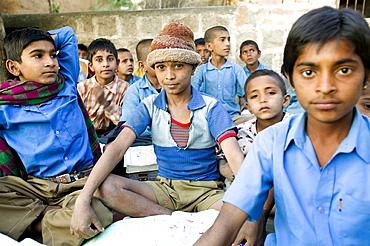 School children in small village, Bhenswara, Rajasthan, India