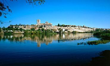 View from Douro river, Zamora, Castilla-Leon, Spain