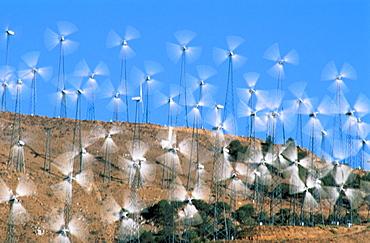 Wind turbines in motion