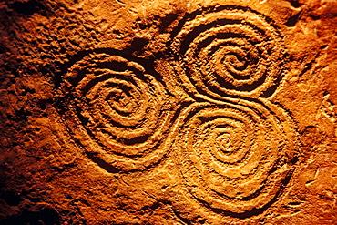 Spiral pattern (c, 3200 bC) in Newgrange archeological site, Co, Meath, Ireland