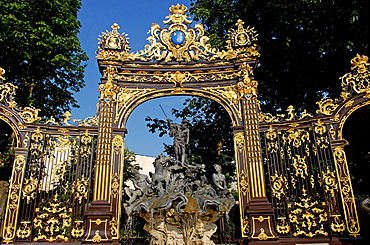 Neptune's fountain by Barthelemy Guibal, Place Stanislas (former Place Royale) built by Stanislas Leszczynski, king of Poland and last duke of Lorraine in the 18 th C, Classed part of our World Heritage by UNESCO, City of Nancy, Lorraine, France