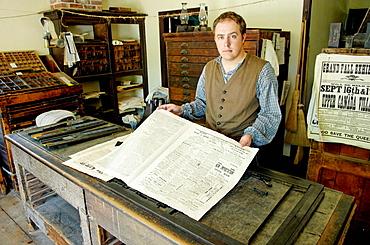 'Gazette' printing office, Upper Canada Village, 1860s village, Heritage Park, Morrisburg, Ontario Province, Canada