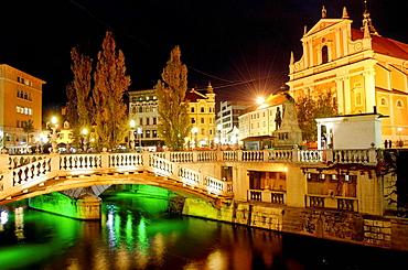 Evening view by the Ljubljanica river, Ljubljana city, Slovenia