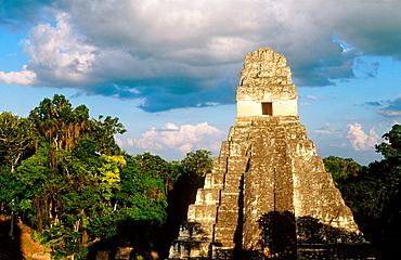 Temple of the Giant Jaguar at Gran Plaza, Mayan ruins of Tikal, Peten region, Guatemala