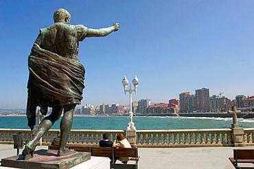 Octavius Augustus statue by sculptor Francisco Gonzalez Macias at Campo Valdes, beside San Lorenzo beach, Gijon, Asturias, Spain