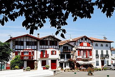 Typical houses, Ainhoa, Pyrenees-Atlantiques, Aquitaine, France