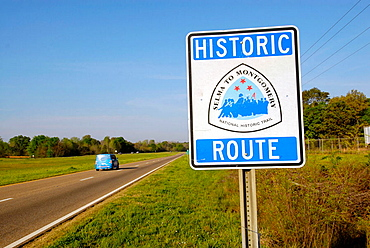 Street sign showing historic route of the civil rights march movement Selma to Montgomery, Alabama, USA