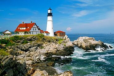 Portland Headlight Lighthouse complex at South Portland Maine, USA