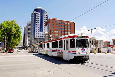 Utah Transit Authority using electrical powered transportation in Salt Lake City, Utah, USA