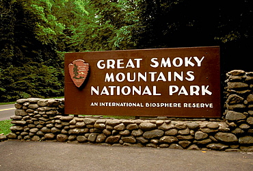 Great Smoky Mountain National Park sign entrance at Gatlinburg Tennessee