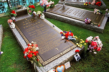 Burial Place of Elvis Presley and Vern Presley at his Graceland Home Memphis Tennessee US
