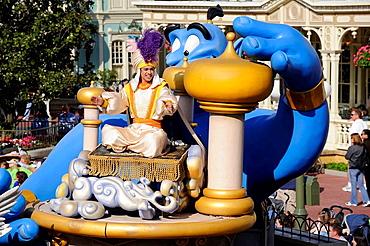 Aladdin in Parade at Walt Disney Magic Kingdom Theme Park Orlando Florida Central